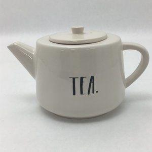 "Rae Dunn | Flat Tea Pot | White | Ceramic | ""Tea"""